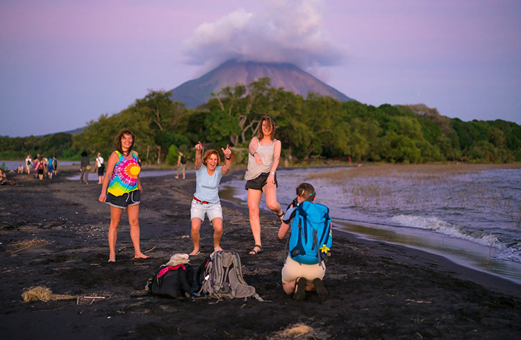 Jesus and Mary beach on island Ometepe in Lake Nicaragua with volcano Conception in background