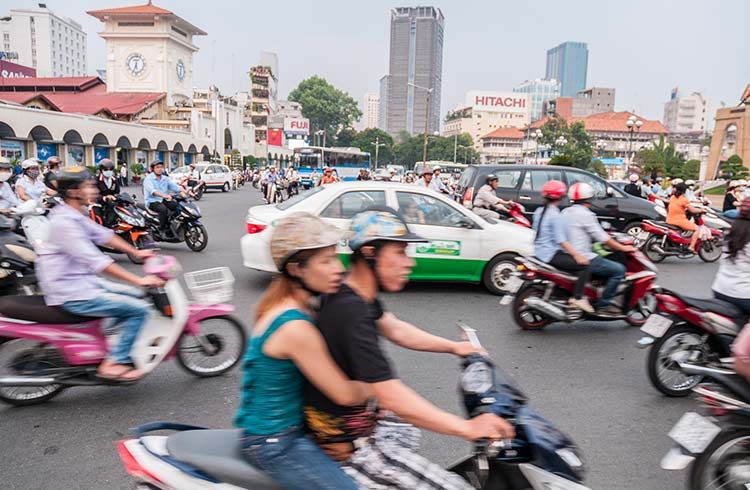 Traffic at Ben Thanh Market