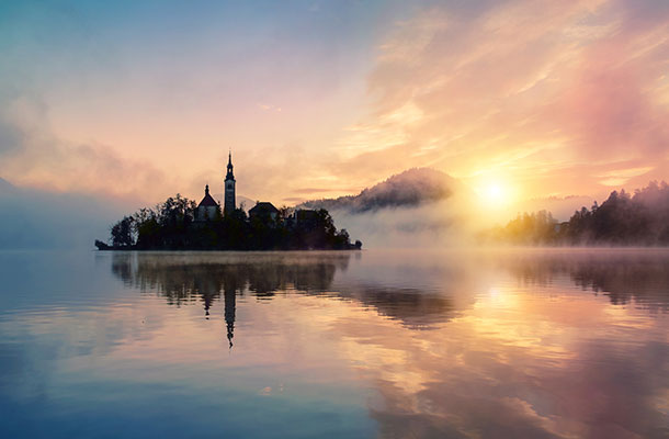 Misty sunrise at Lake Bled