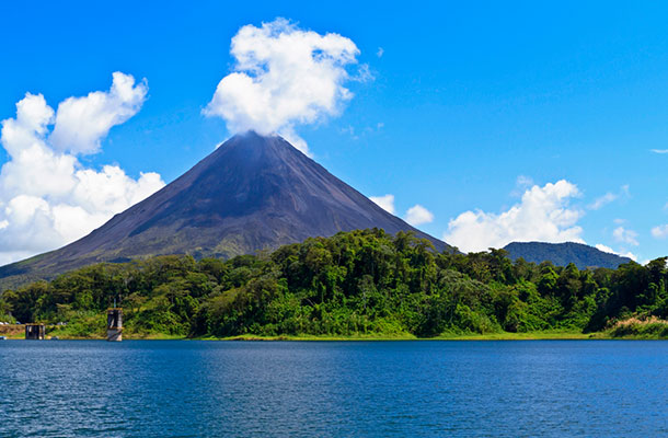 Arenal Volcano in front of the lake, Costa Rica