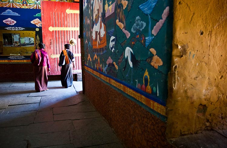 Colorful murals inside a monastery in Bhutan.
