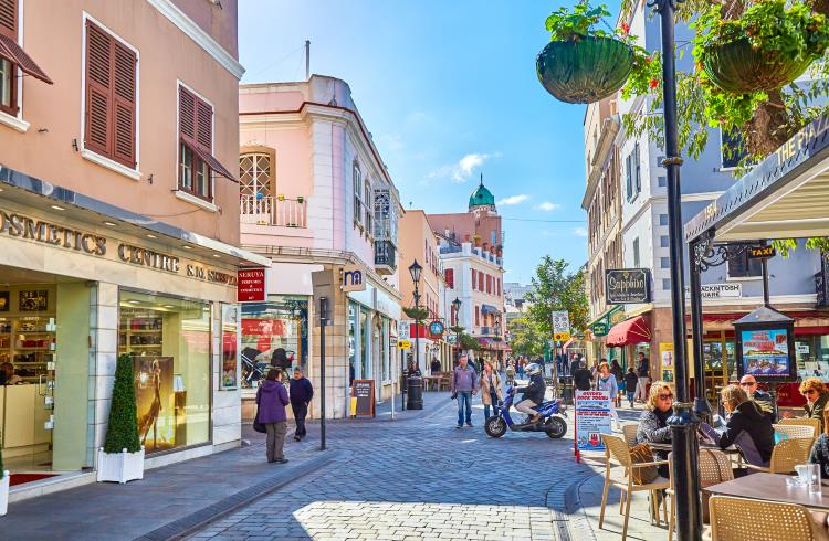 A shopping street in Old Town, Gibraltar City.