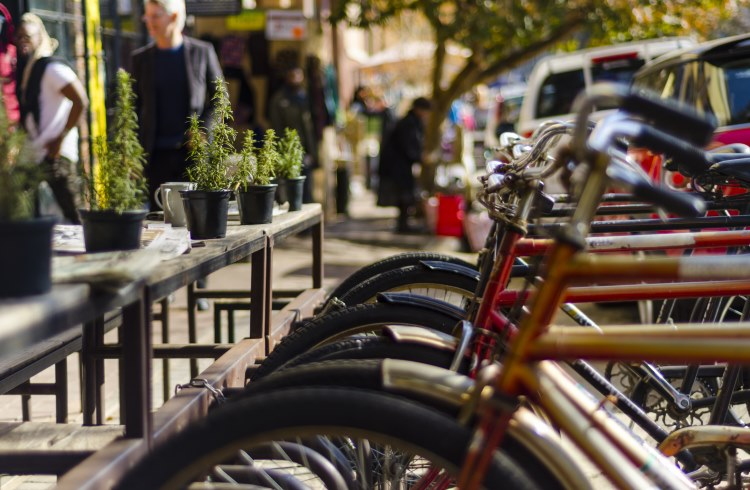 Bikes parked at an outside cafe in Maboneng Precinct, Johannesburg, South Africa.