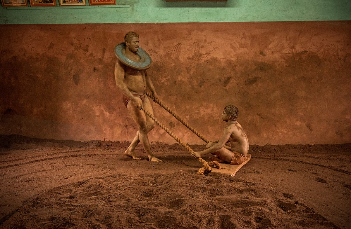 Pehalwani wrestlers doing their full-body workouts before and after their twice-daily training.