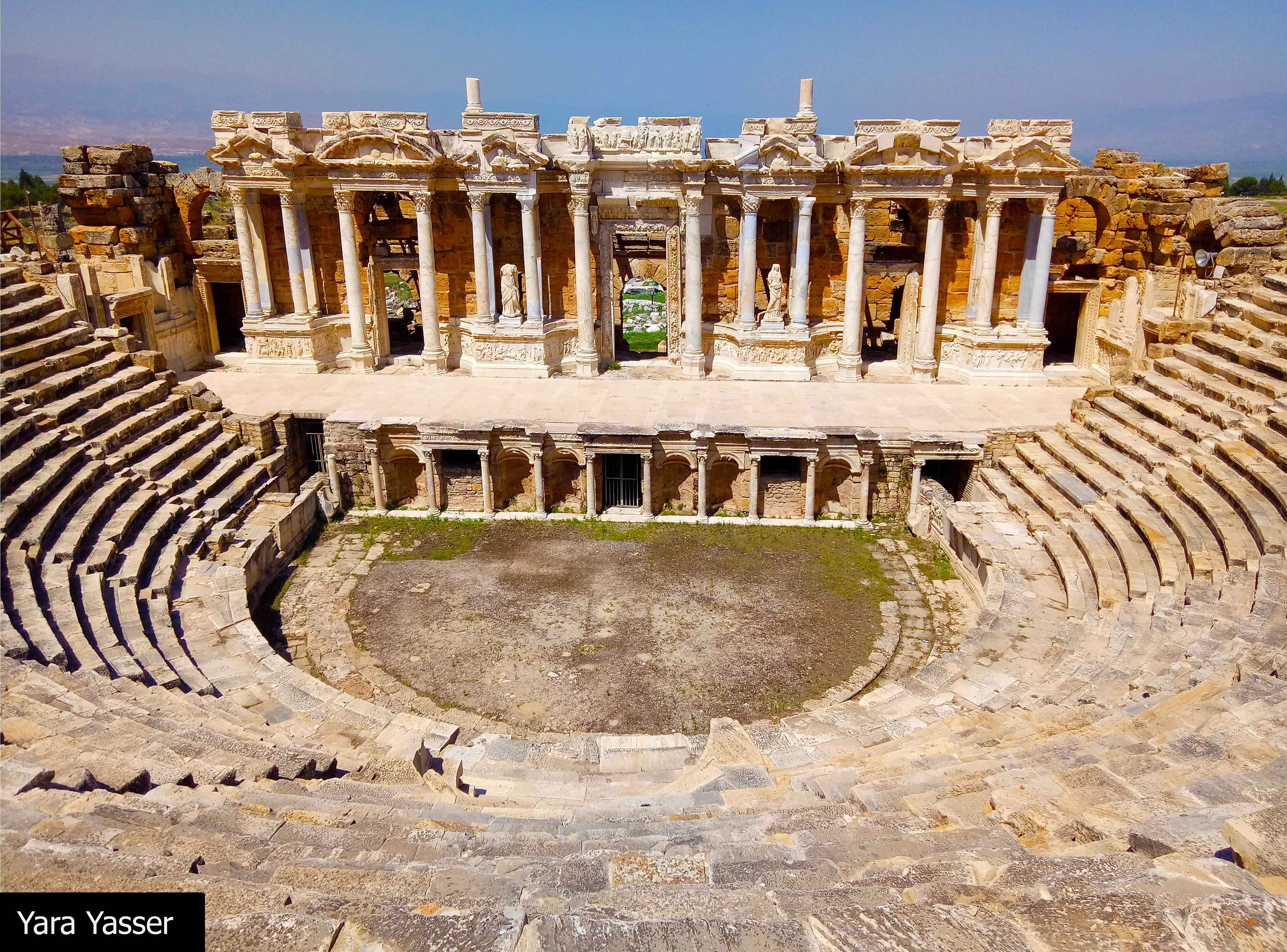 The Roman Theater, there are 50 rows of seats divided into 7 parts by 8 intermediate stairways.