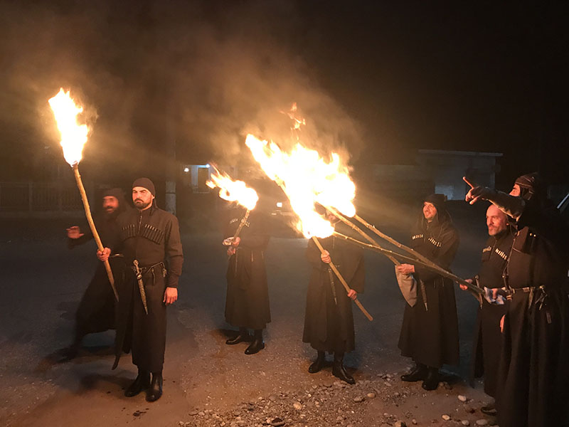 Torchlight parade of traditional singers in Zugdidi.