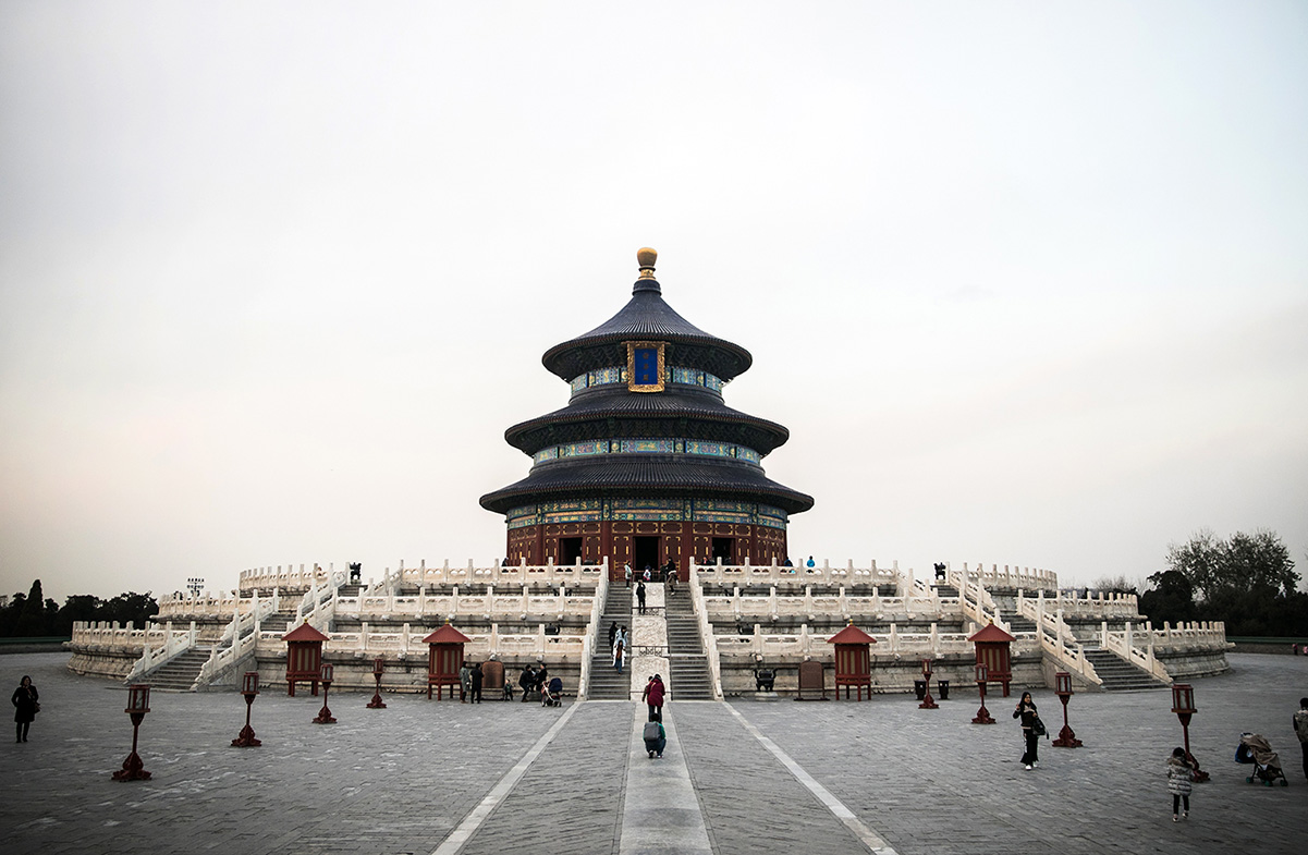 The Temple of Heaven in Beijing, China, where hundreds of tourists come to see the spectacular buildings. However, the park, just outside, is a very popular place to play Xiangqi, Chinese chess.