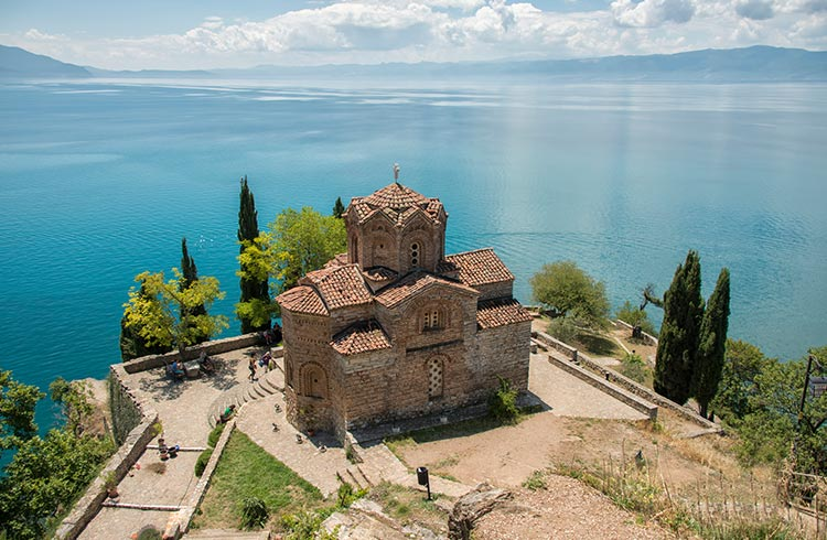 Saint John at Kaneo is a Macedonian Orthodox church situated on the cliff over Kaneo Beach overlooking Lake Ohrid in the city of Ohrid