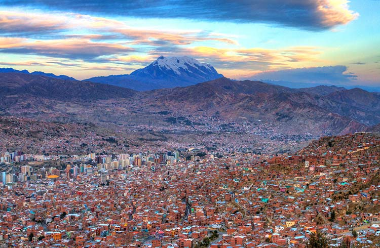 Sunset from El Alto, Mount Illimani in background
