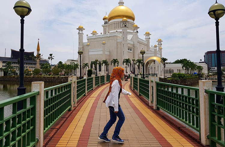 A woman in front of a mosque in Brunei