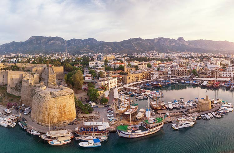 Kyrenia (Girne) is a city on the north coast of Cyprus, known for its cobblestoned old town and horseshoe-shaped harbor