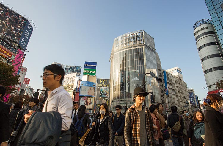 A busy crossing in Tokyo, Japan