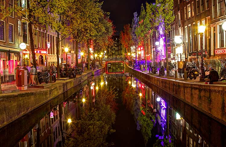 De Wallen at night – a well known red-light district in Amsterdam