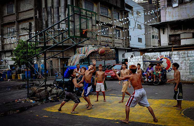 A street basketball match in Manila