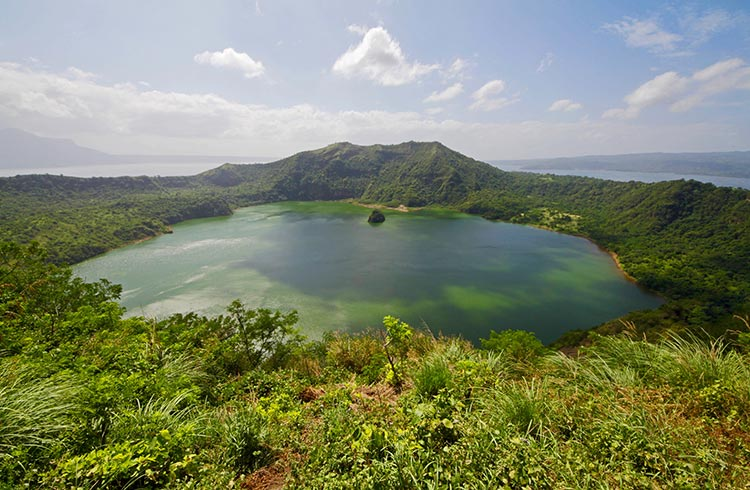 Taal Volcano and a crater lake below, Philippines