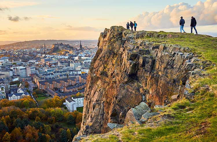 Salisbury Crags, Holyrood Park with Edinburgh city the in background