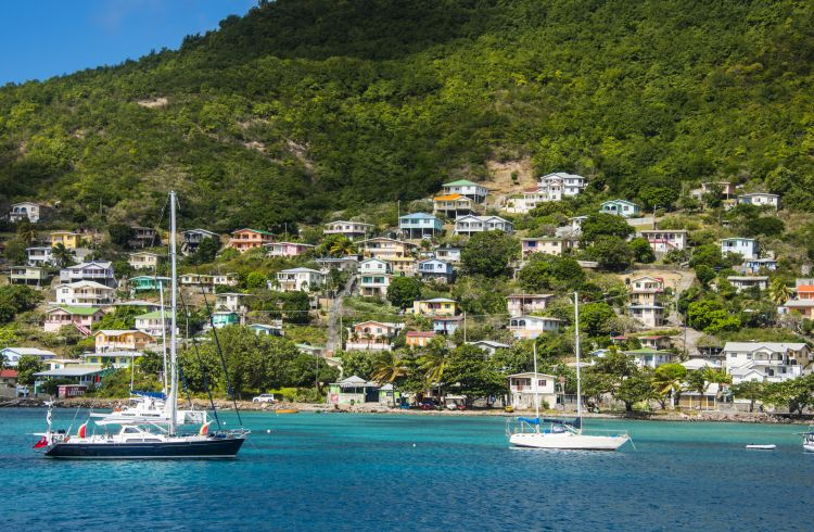 Sailing boats anchoring in Port Elizabeth, Admiralty Bay, Bequia, The Grenadines