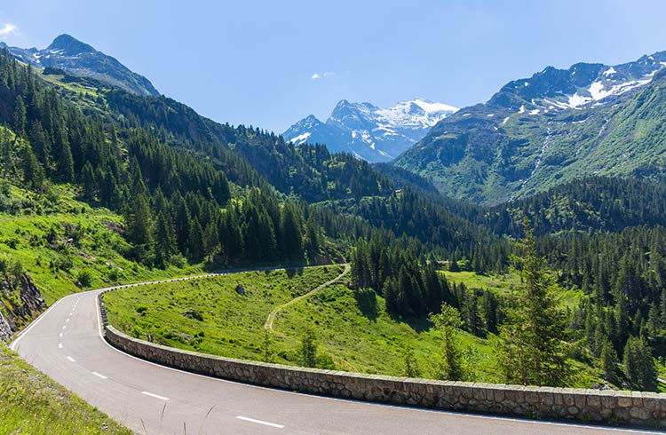 Scenic mountain roads in Switzerland on a clear day