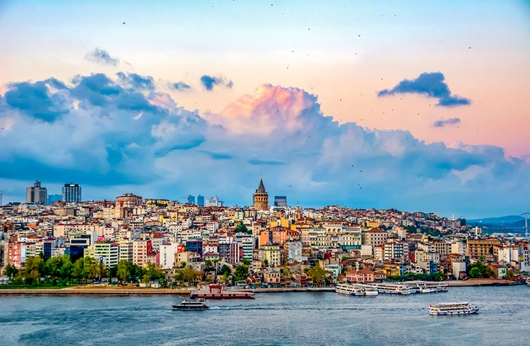 Galata Tower, Galata Bridge, Karakoy district and Golden Horn in Istanbul