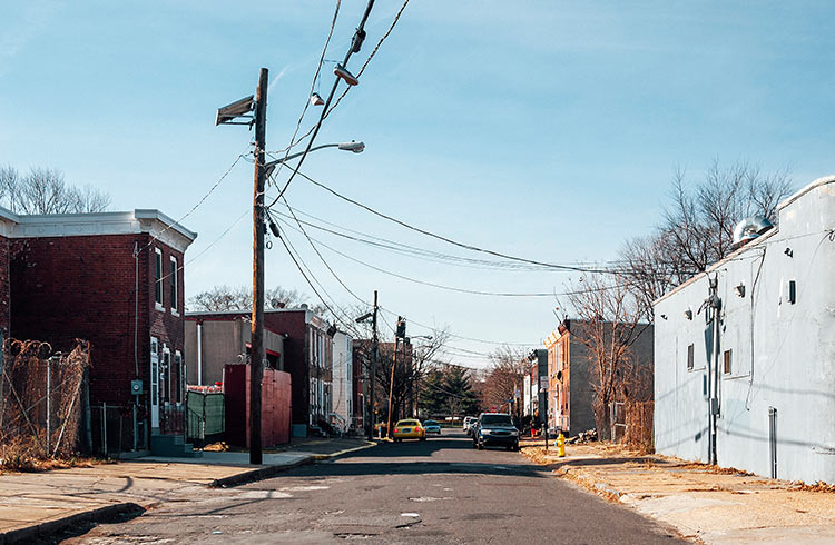 Inner city streets of Camden, New Jersey